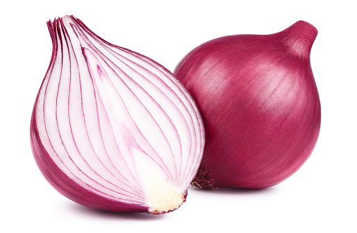 Red whole and sliced onion, isolated on white background