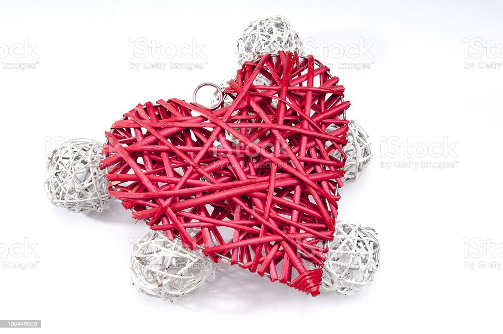 Red Wicker heart and white balls royalty-free stock photo
