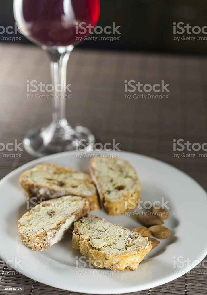 Red wine and biscotti royalty-free stock photo