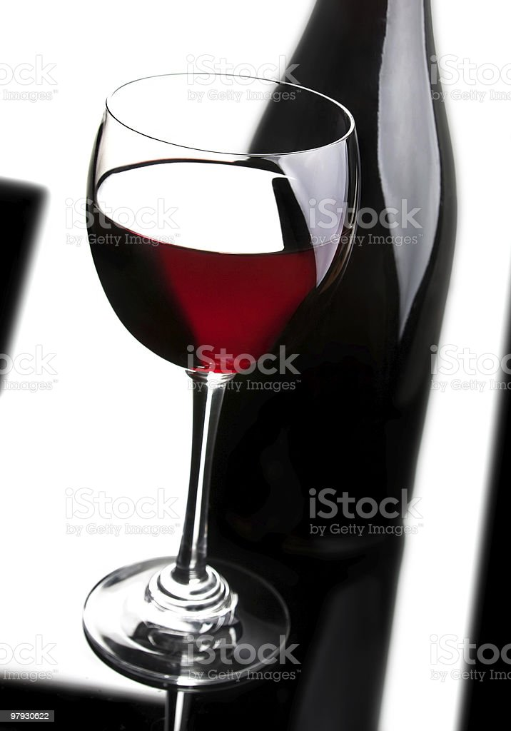 Red wine and black bottle royalty-free stock photo