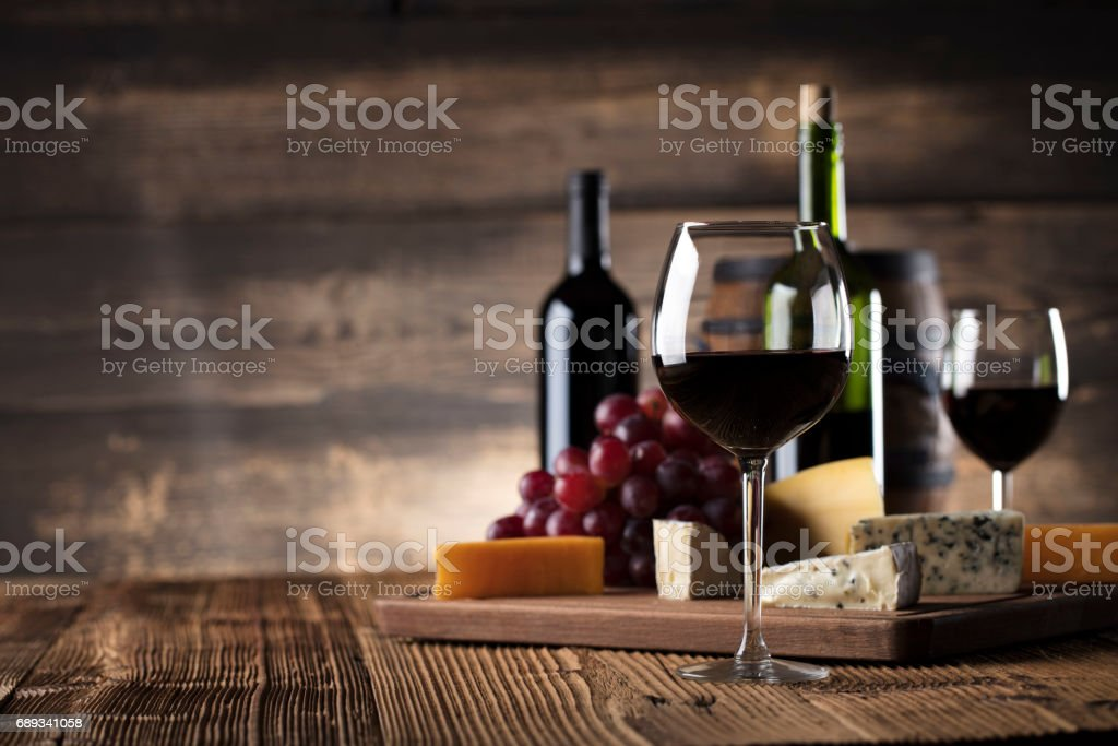 Red wine and cheese stock photo