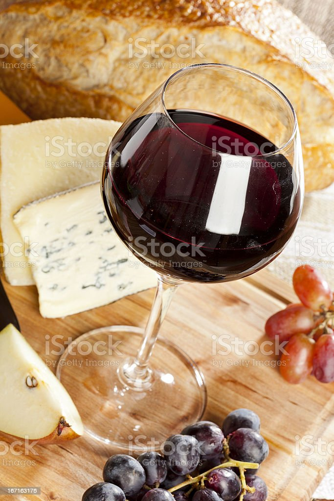 Red Wine And Cheese Plate royalty-free stock photo