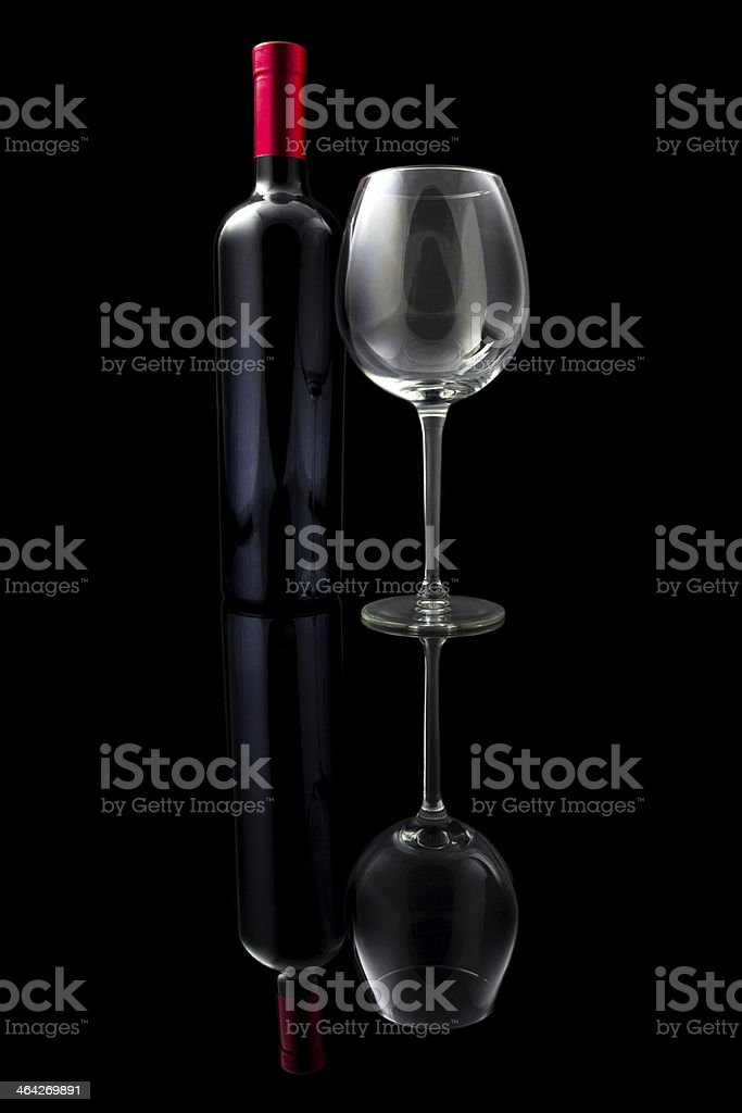 Red wine and empty glass royalty-free stock photo