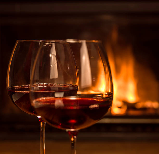 red wine and fireplace