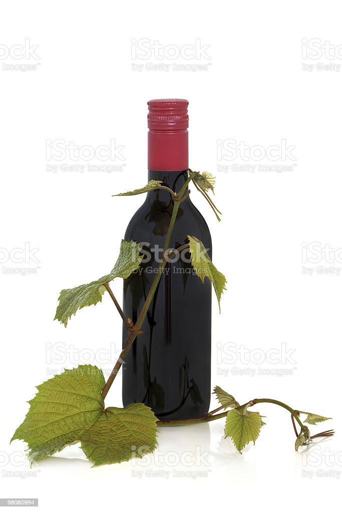Red Wine and Grape Leaves royalty-free stock photo