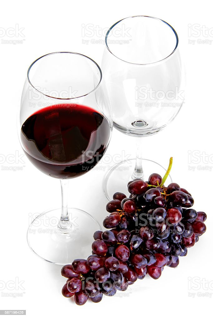 Red wine and grape stock photo