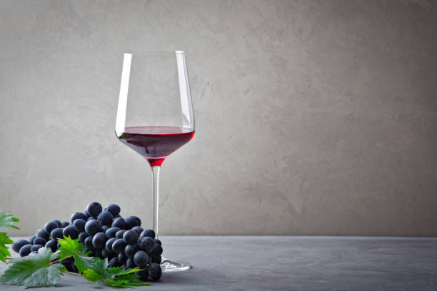 Red wine and grapes. stock photo