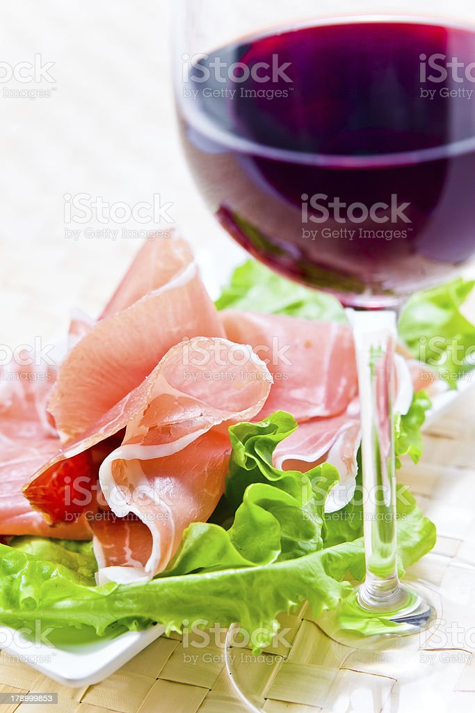 red wine and ham royalty-free stock photo