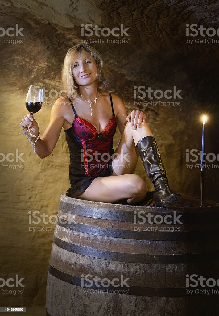 red wine and lingerie stock photo