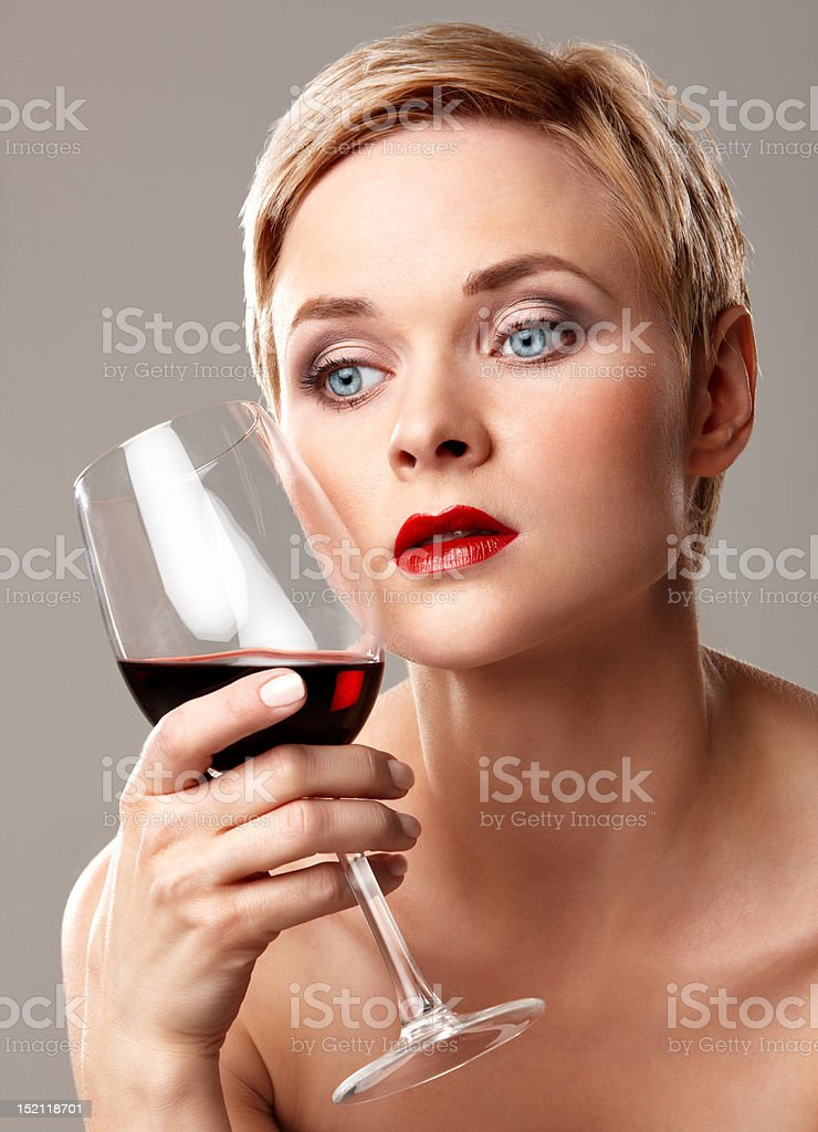 Red wine and lips royalty-free stock photo