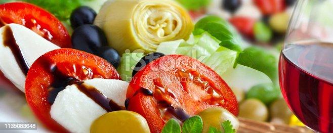 istock Red Wine and Mozzarella Salad with Artichokes 1135083648