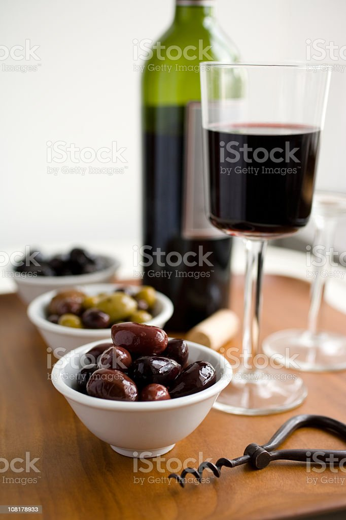 red wine and olives royalty-free stock photo