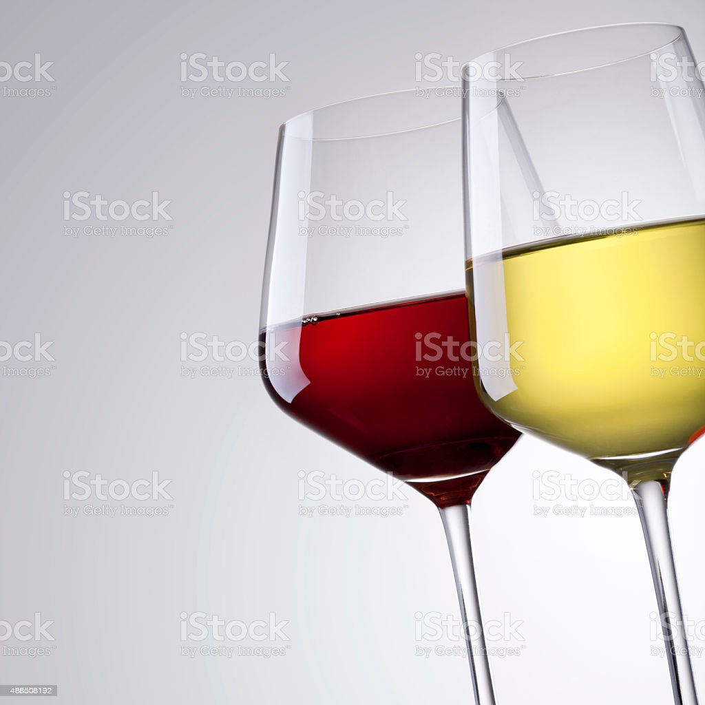 red wine and white wine stock photo