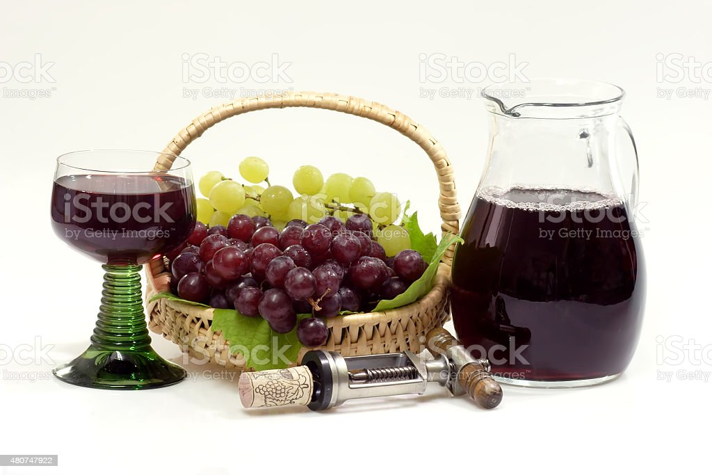 Red Wine and wine jug stock photo