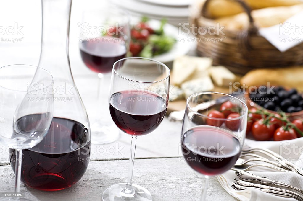 Red Wine at Picnic stock photo