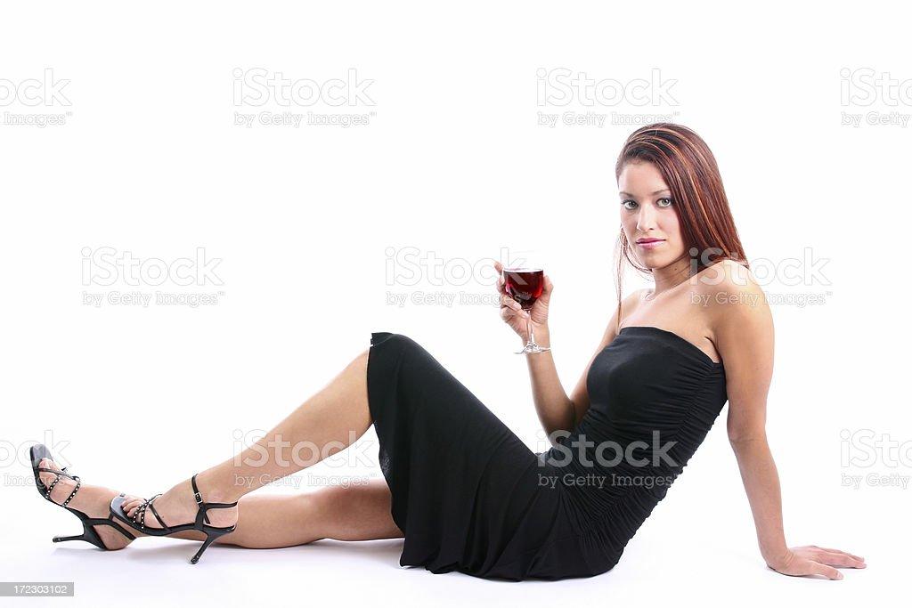Red wine Black dress royalty-free stock photo
