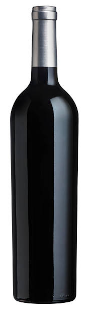 Red Wine Bottle against a white background Tapered bottom Red Wine bottle without a label against a white background. Shot with a 39 megapixel back on a medium format camera. burwellphotography stock pictures, royalty-free photos & images