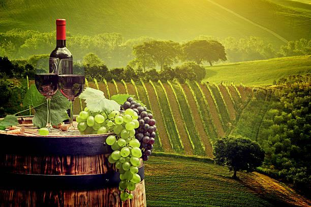 레드 와인 1병 및 유리컵 의 wodden에 배럴. 스톡 사진