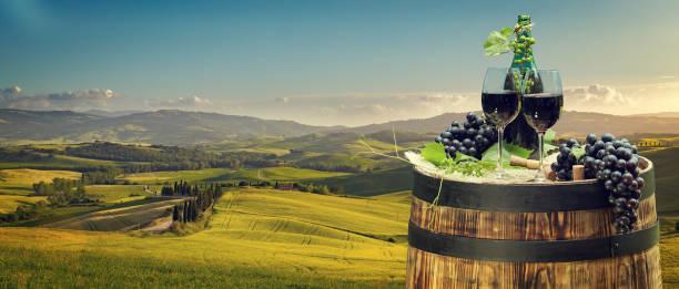 레드 와인 병 및 와인 잔의 배럴 스톡 사진