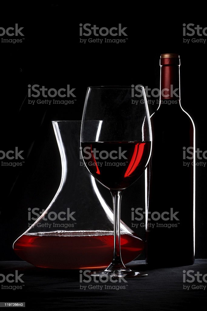 Red wine. Bottle, glass and decanter silhouette stock photo