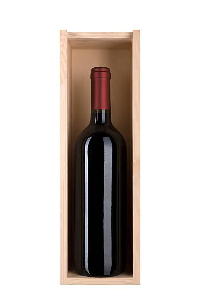 red wine bottle in a wooden gift box - wine box bildbanksfoton och bilder