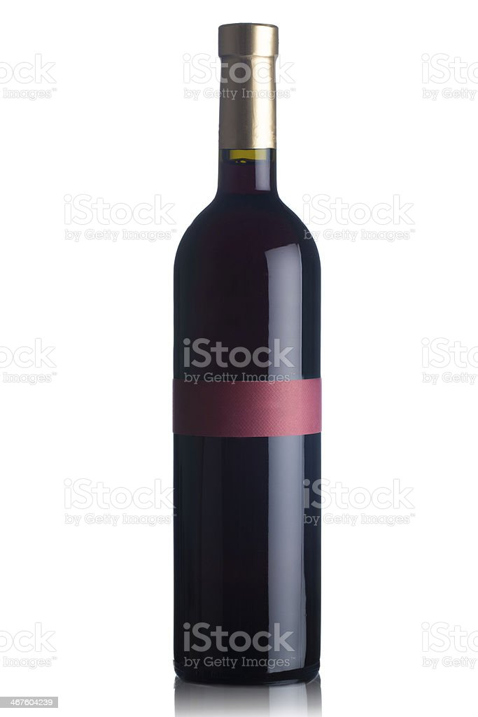 Red wine bottle isolated on white royalty-free stock photo