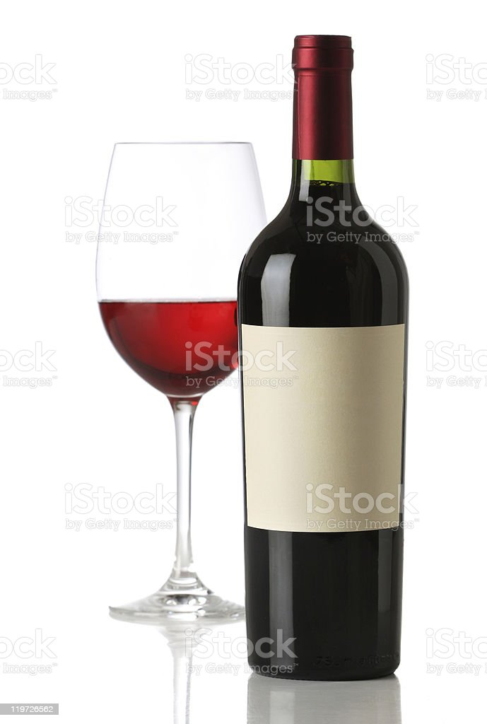 Red wine bottle with and empty label royalty-free stock photo