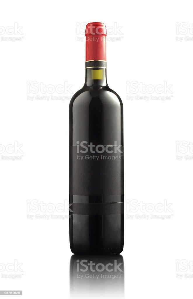 red wine bottle, with empty label royalty-free stock photo