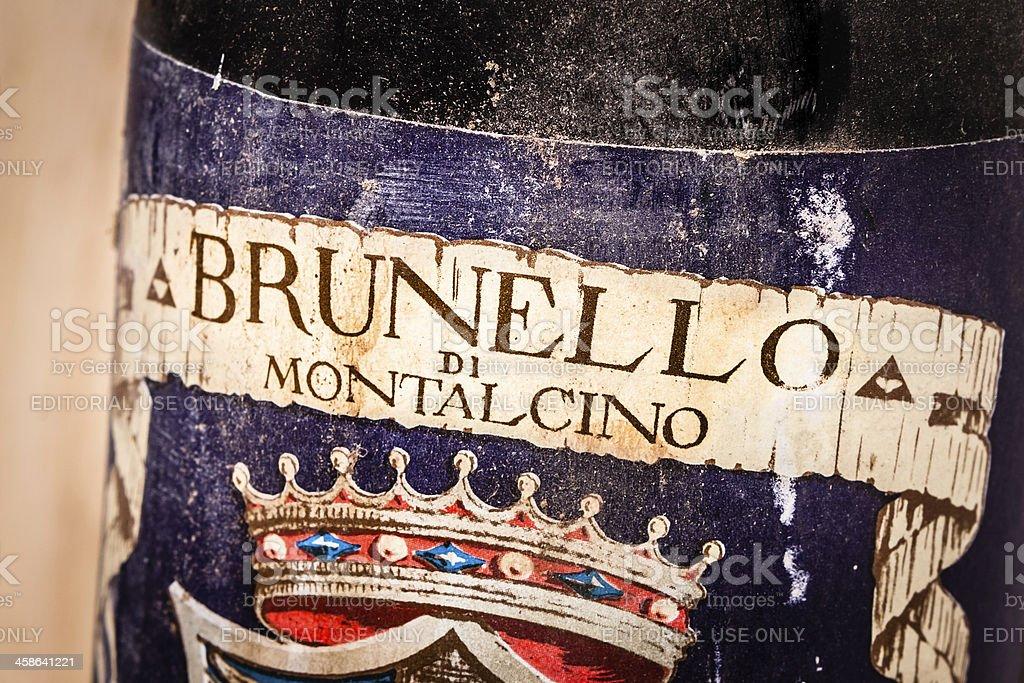 1968 Red Wine Brunello di Montalcino, Old Bottle stock photo