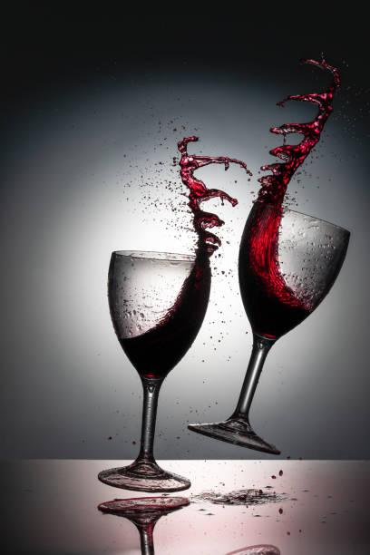 Red Wine Cheers Splash stock photo