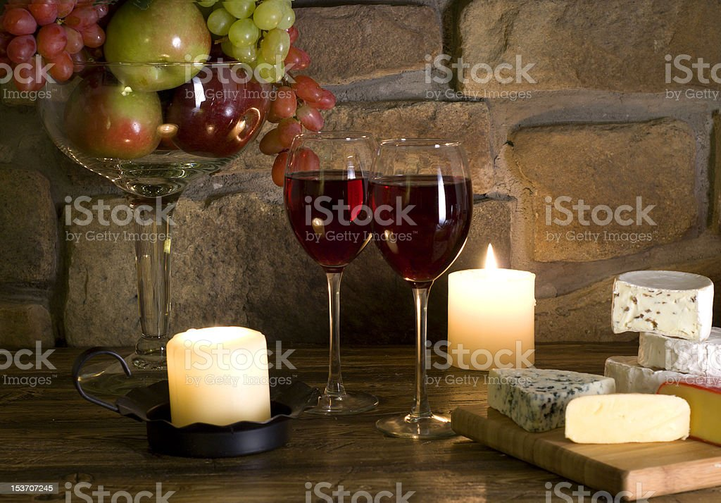 Red wine , cheese and fruit composition royalty-free stock photo