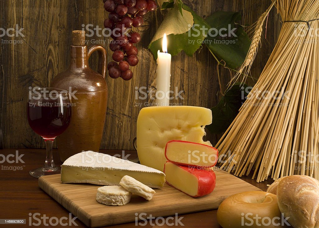 Red wine , cheese and fruit royalty-free stock photo