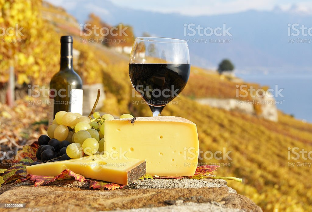 Red wine, cheese and grapes stock photo