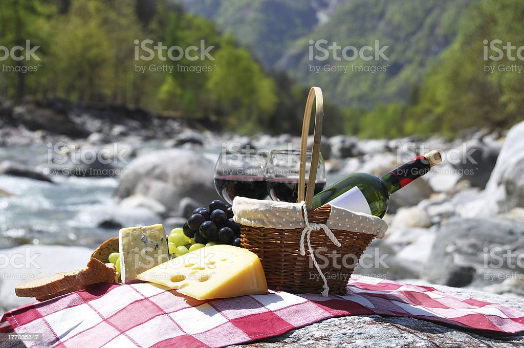 Red wine, cheese and grapes. Verzasca valley, Switzerland stock photo