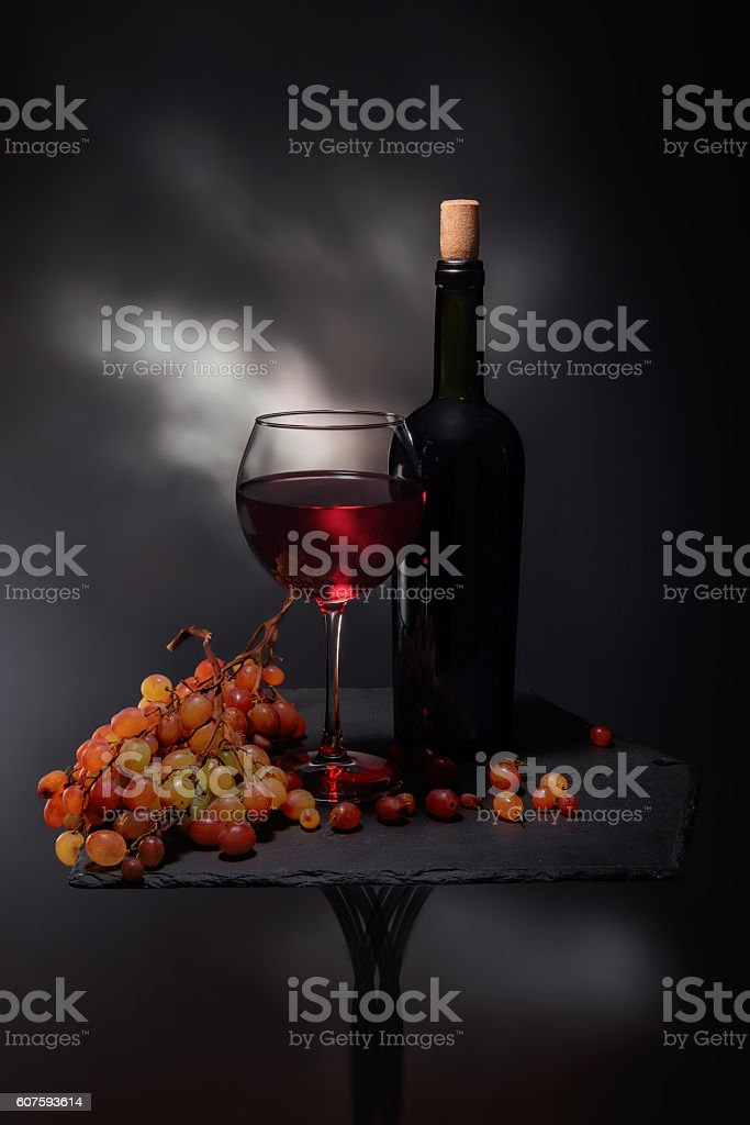 Red wine composition on dark background stock photo