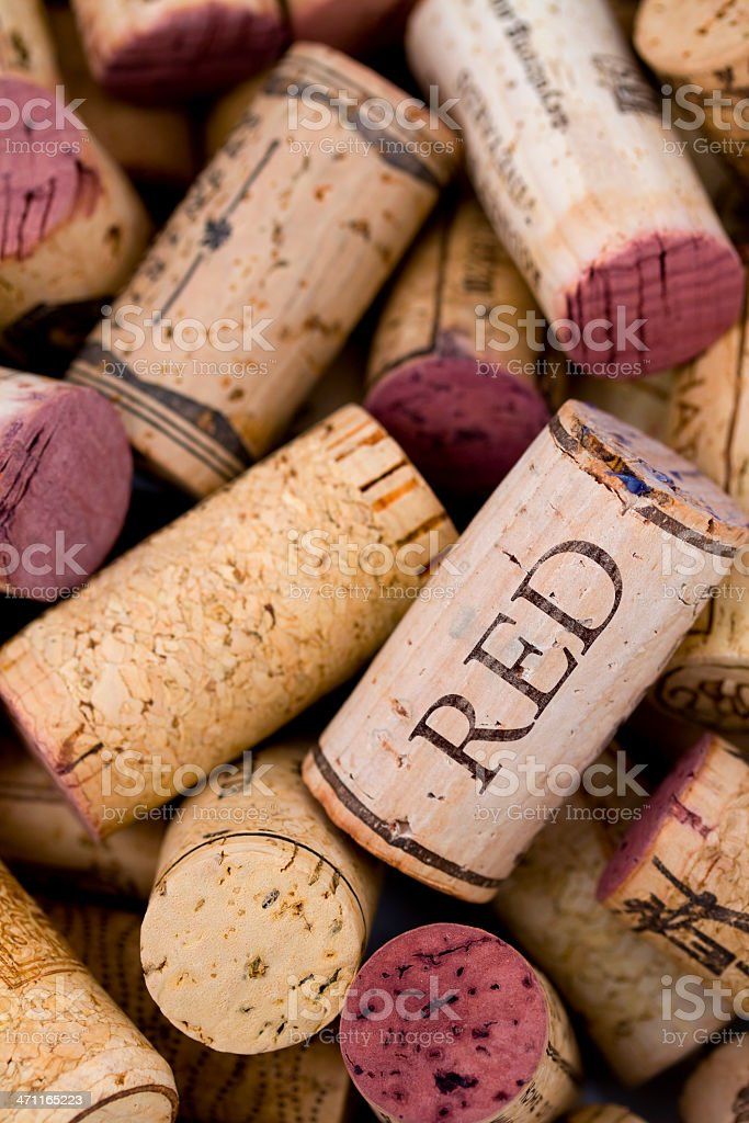 Red wine corks. stock photo