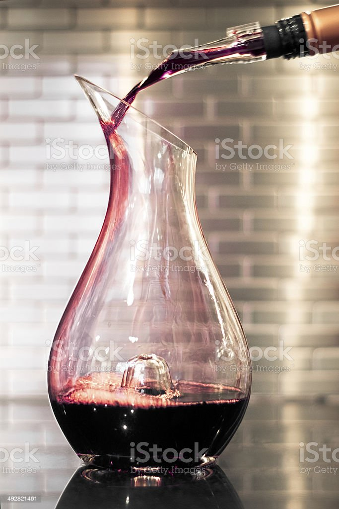 Red wine decanter stock photo