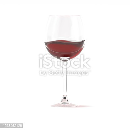 red, wine, glass, 3d rendering, isolated on white background