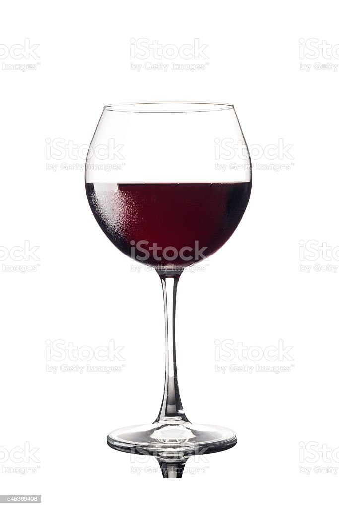 Red wine glass cutout isolated on white stock photo