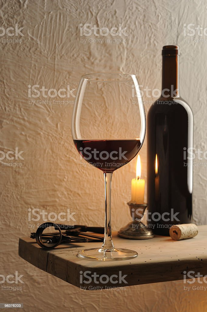 Red wine glass in rural house royalty-free stock photo