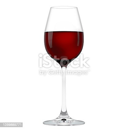 Bordeaux, merlot grape red wineglass on white. Red wine glass isolated on white background, closeup image. Transparent glass, front view, alcohol winery concept.