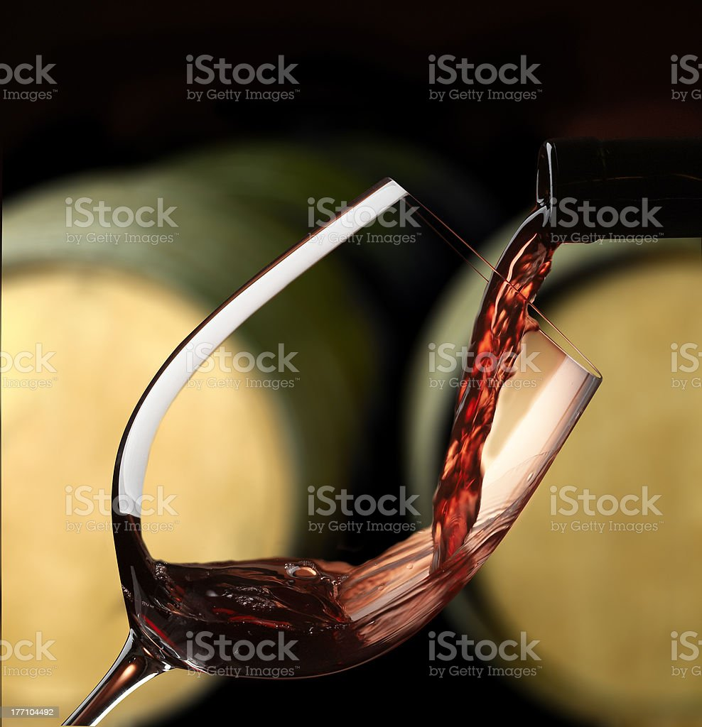 Red wine glass stock photo