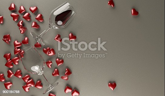 istock Red Wine Glasses With Bunch Of Red Hearts 900184768