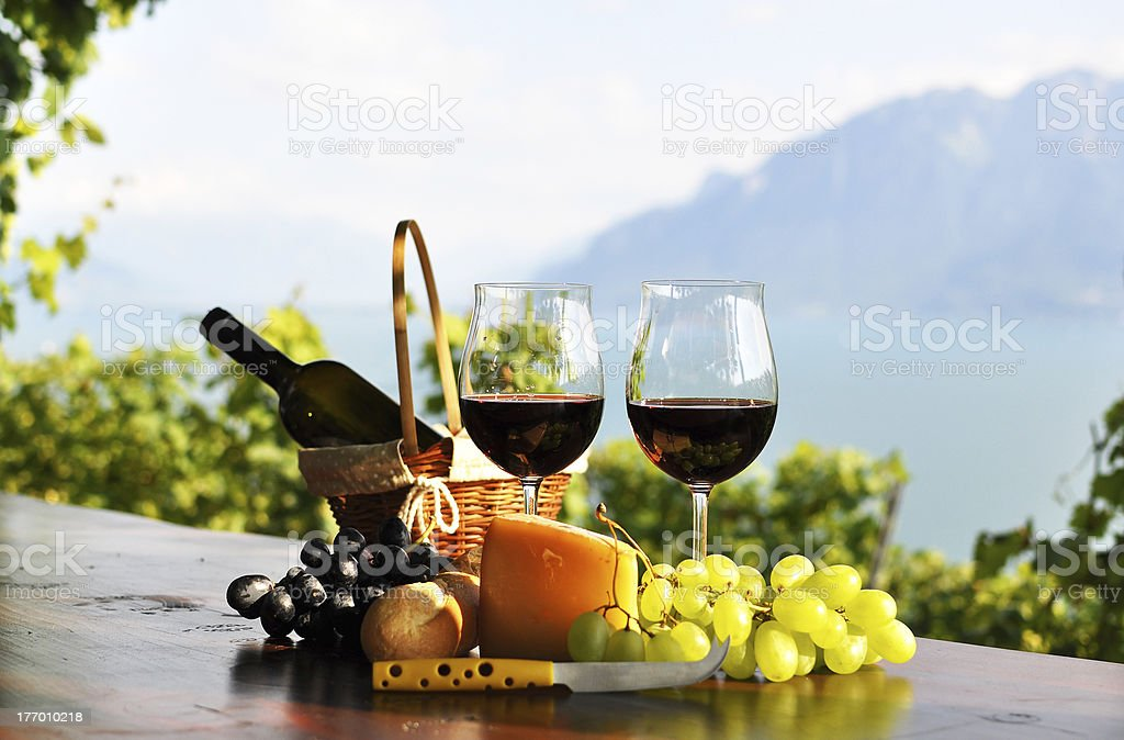 Red wine, grapes and cheese. Lavaux region, Switzerland royalty-free stock photo