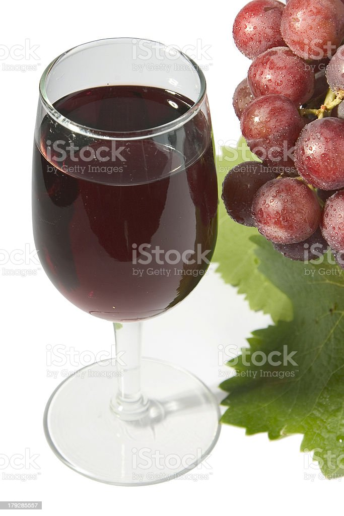 Red wine & grapes stock photo