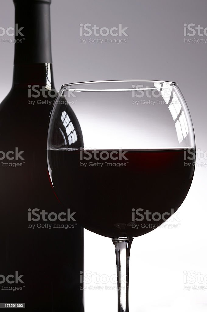 Red wine in glass and bottle royalty-free stock photo
