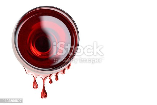 red wine in glass with a wine drops from it, isolated on white background, copy space template