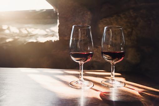 Red wine in glasses, wine tasting concept