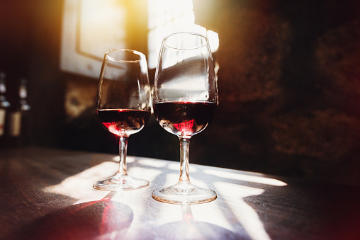 istock Red wine in glasses, wine tasting concept 839174370