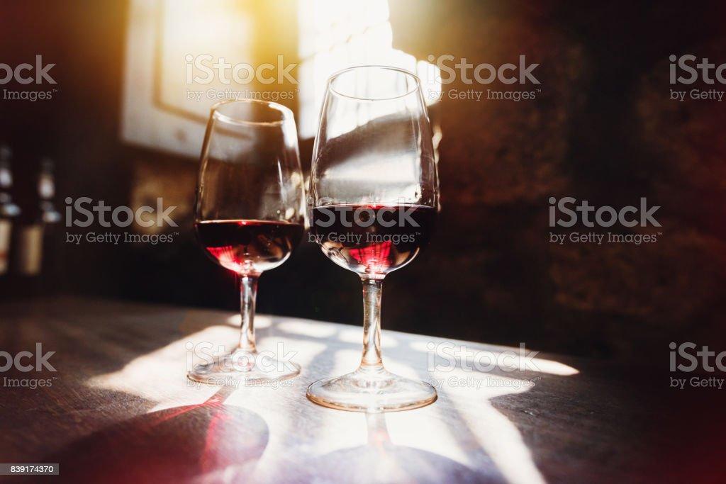 Red wine in glasses, wine tasting concept stock photo